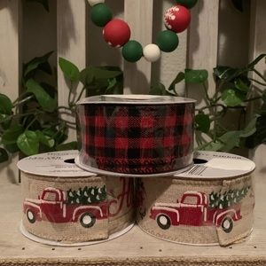 Christmas wired ribbon roll bundle set